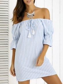 Striped Fringe Off The Shoulder Mini Dress - Blue