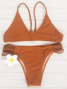 Brown Spaghetti Strap Bikini Set