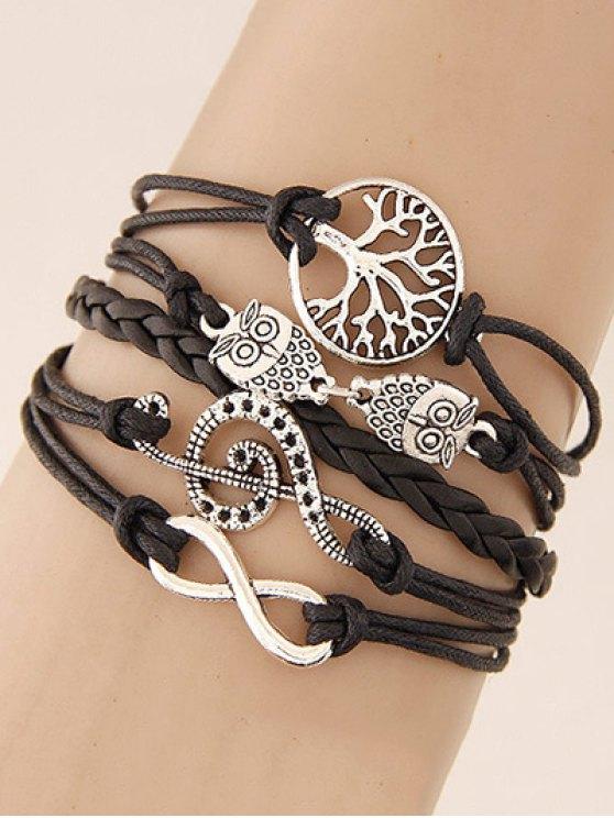 women's Tree of Life Owl Braided Bracelet - BLACK