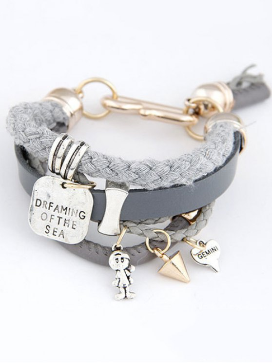 Faux Leather Engraved Braided Bracelet - GRAY  Mobile