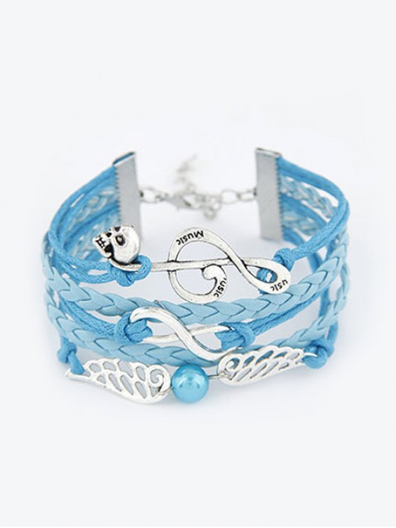 Musical Note Wings Braided Bracelet - BLUE  Mobile