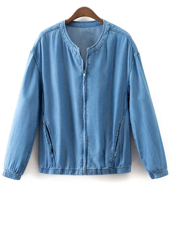 fashion Solid Color Stand Collar Denim Coat - LIGHT BLUE S