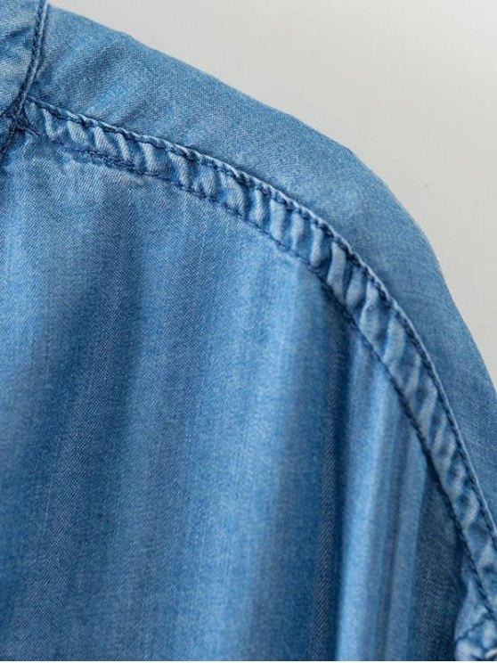 Solid Color Stand Collar Denim Coat - LIGHT BLUE S Mobile