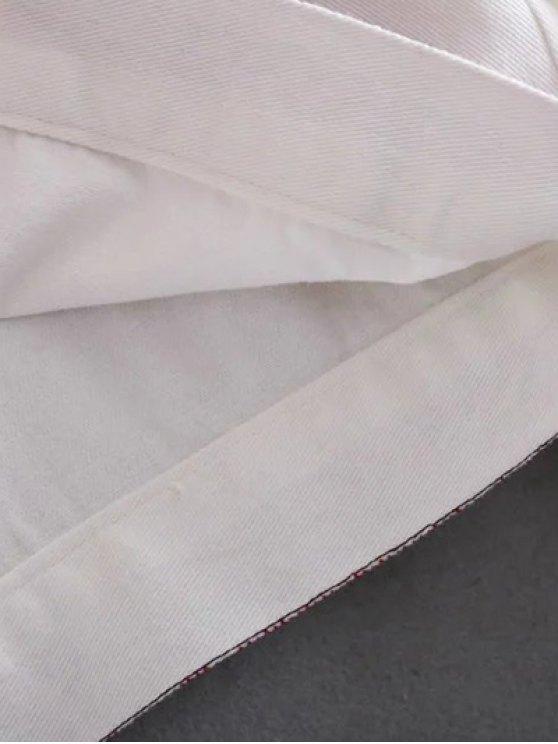Flat Collar Embroidered Denim Coat - WHITE S Mobile