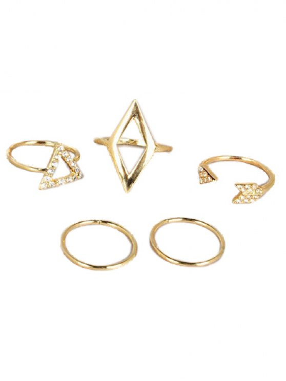 Cut Out Rhinestone Geometric Ring Set - GOLDEN  Mobile