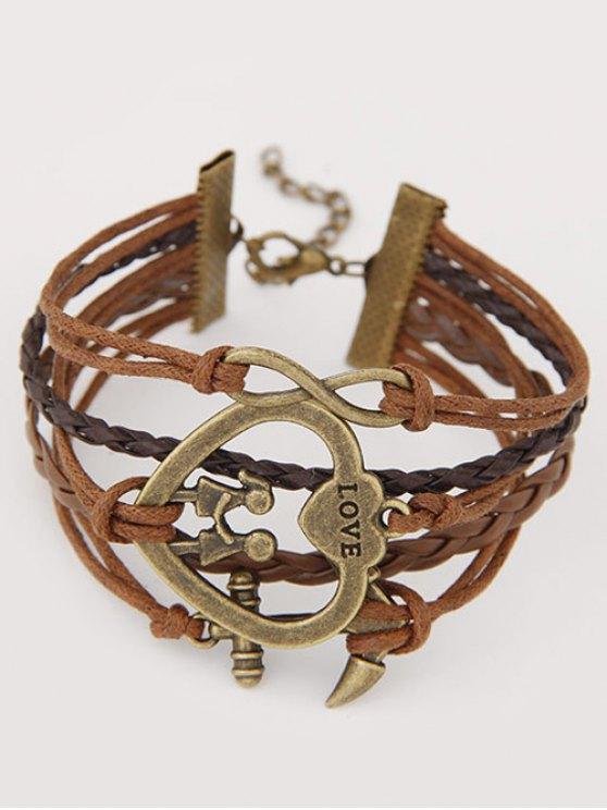 Heart Infinity Anchor Braided Bracelet - BROWN  Mobile