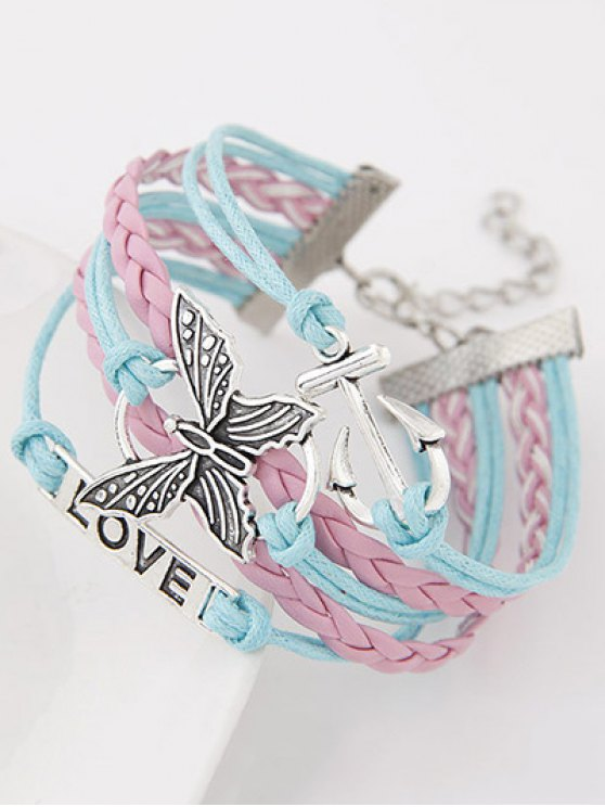Anchor Butterfly Braided Bracelet - COLORMIX  Mobile