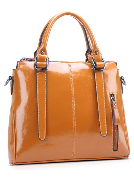 Straps Solid Colour Tote Bag - BROWN  Mobile