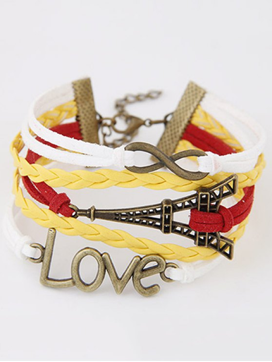 Eiffel Tower Love Braided Bracelet - COLORMIX  Mobile