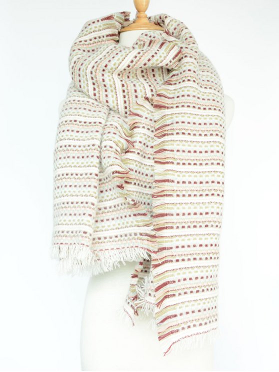 Plaid Stripe Fringed Pashmina -   Mobile