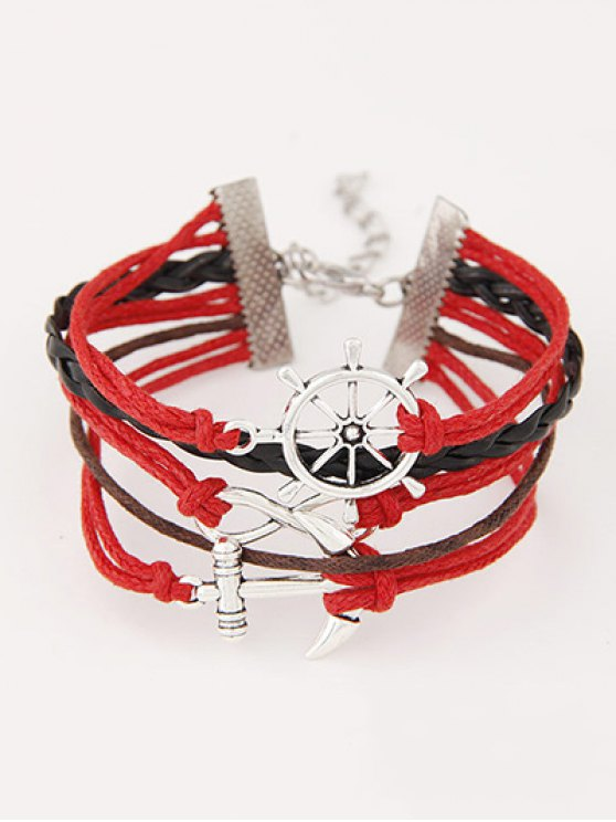 Anchor Rudder Infinity Layered Bracelet - RED  Mobile