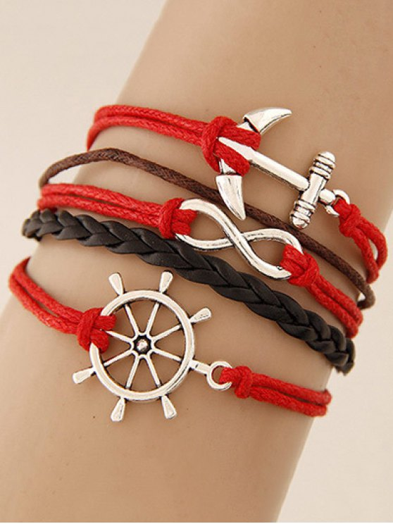 ladies Anchor Rudder Infinity Layered Bracelet - RED