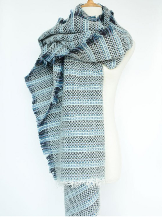 Plaid Stripe Fringed Pashmina - BLUE  Mobile