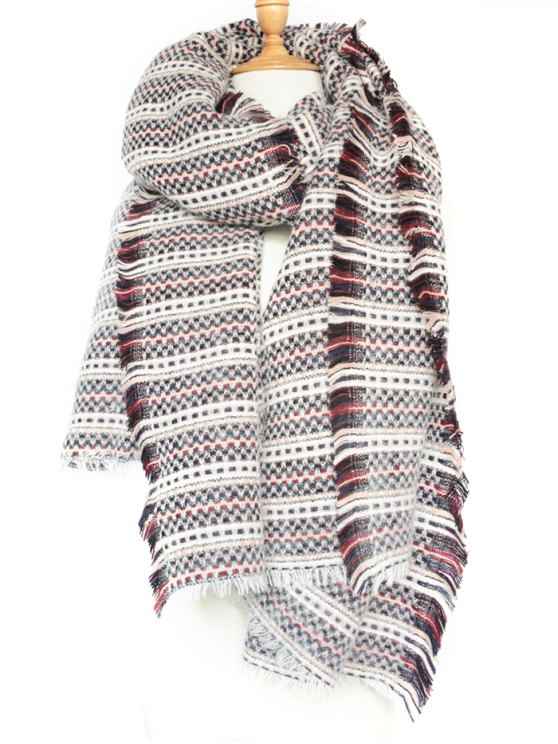 Plaid Stripe Fringed Pashmina -   Mobile
