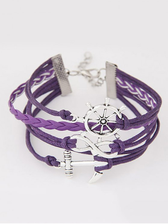 Anchor Rudder Infinity Layered Bracelet - PURPLE  Mobile