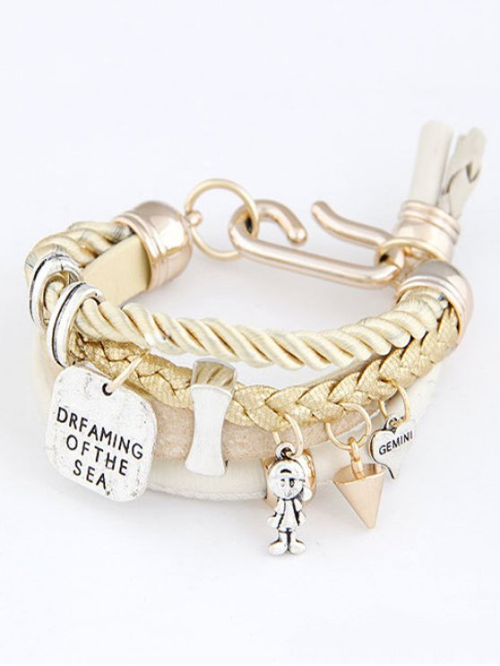 Faux Leather Engraved Braided Bracelet - WHITE  Mobile