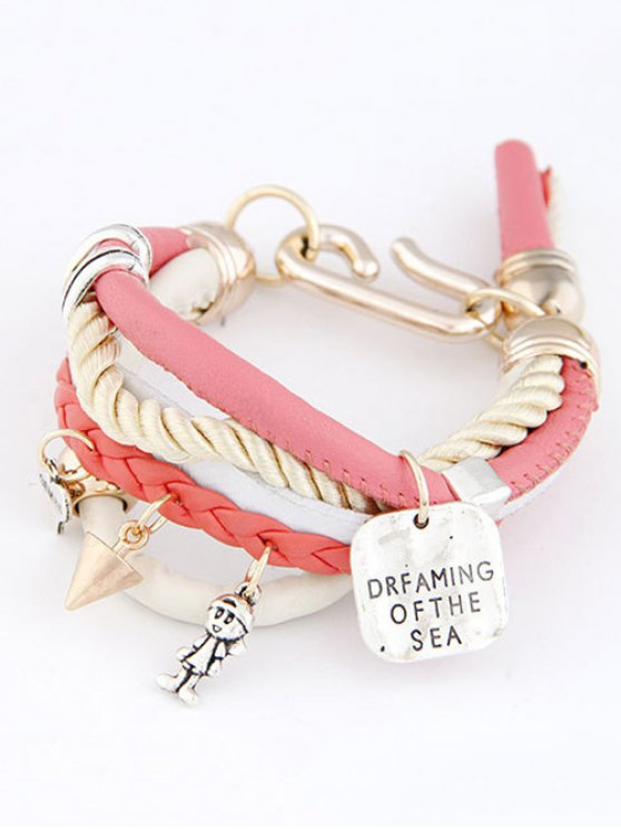 Faux Leather Engraved Braided Bracelet - PINK  Mobile