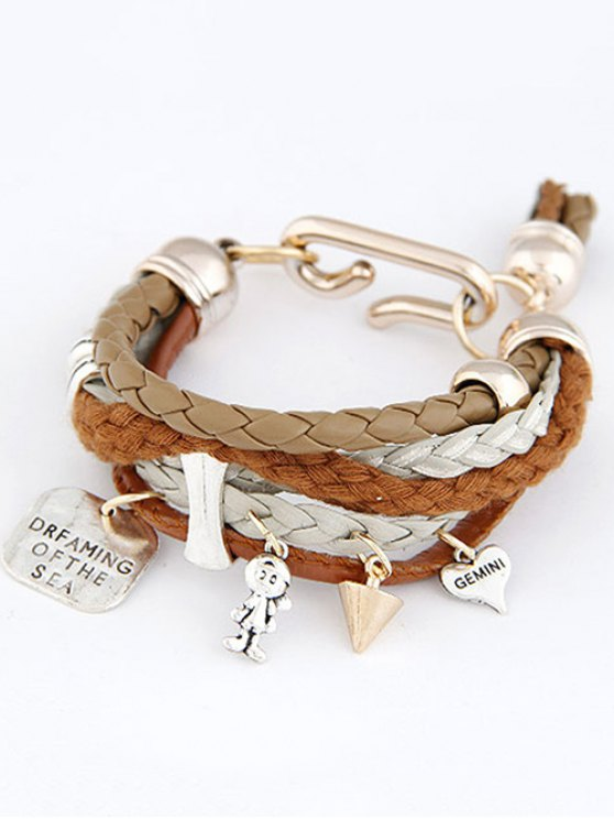 Faux Leather Engraved Braided Bracelet - COFFEE  Mobile