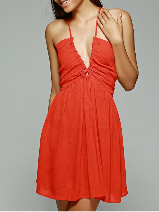Orange Red Plunging Neck Sleeveless Chiffon Dress - ORANGE RED XL Mobile