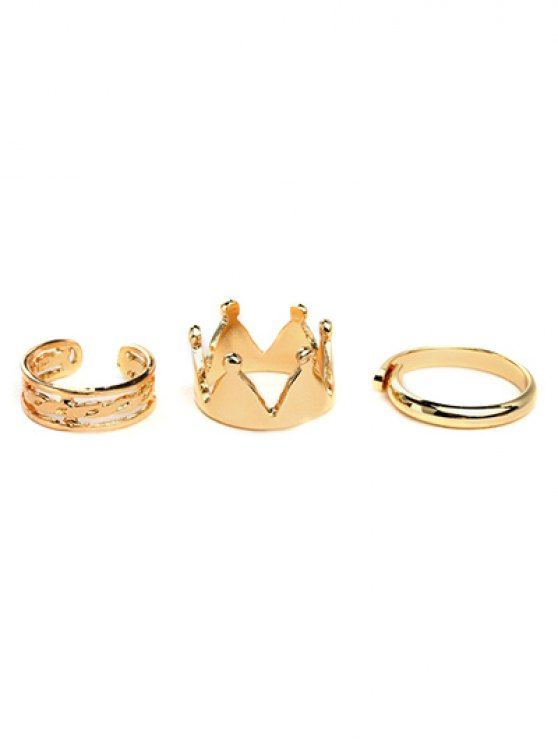 Crown Ring Set - GOLDEN  Mobile