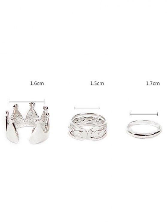 Crown Ring Set - SILVER  Mobile