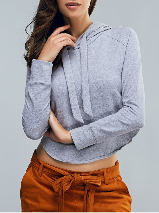 Cropped Hooded Long Sleeve Pullover Hoodie - LIGHT GRAY S Mobile