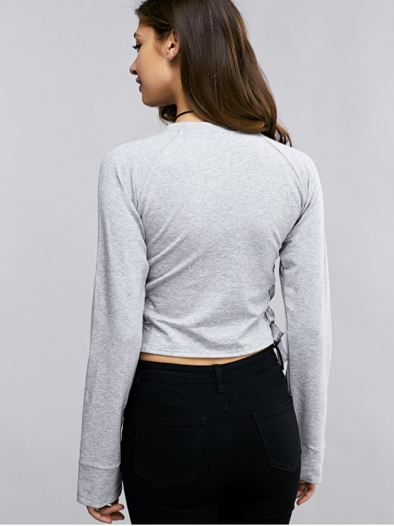 Lace Up Round Neck Cropped Sweatshirt - LIGHT GRAY M Mobile