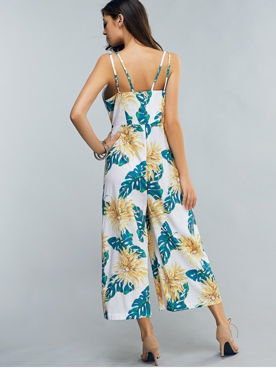 Full Floral Print Cami Chiffon Jumpsuit - COLORMIX XL Mobile