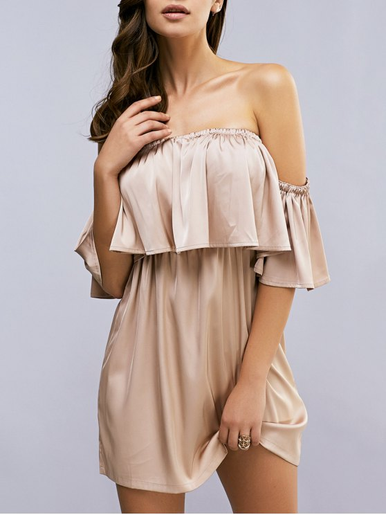 latest Off The Shoulder Ruffle A-Line Dress - LIGHT KHAKI L