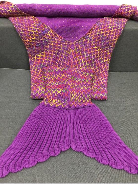 Rhombus Design Knitting Mermaid Blanket - PURPLE  Mobile