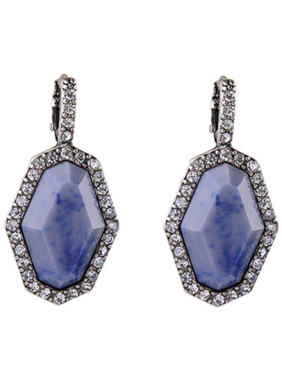 Rhinestoned géométrique Boucles d'oreilles - Argent