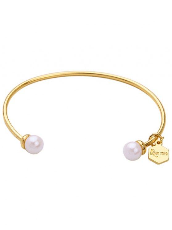 Joyería de imitación de la perla Pulsera del puño - Blanco