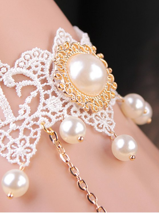 Lace Faux Pearl Bracelet with Ring - WHITE  Mobile
