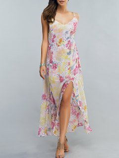 High Slit Spaghetti Strap Floral Print Maxi Dress - Floral S