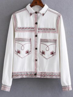 Flat Collar Embroidered Denim Coat - White S