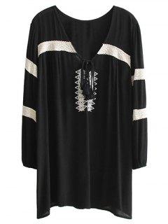 Embroidered V Neck Long Sleeve Mini Dress - Black M