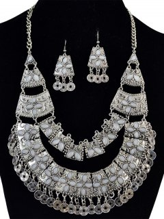 Coin Fringe Statement Necklace And Earrings - Silver