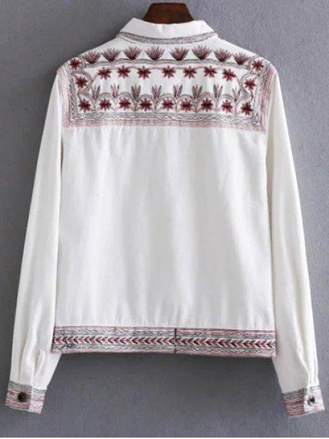 unique Flat Collar Embroidered Denim Coat - WHITE S Mobile