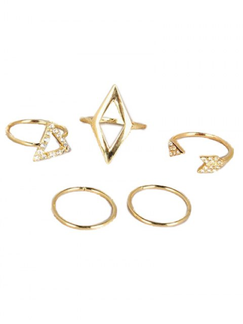 shop Cut Out Rhinestone Geometric Ring Set - GOLDEN  Mobile