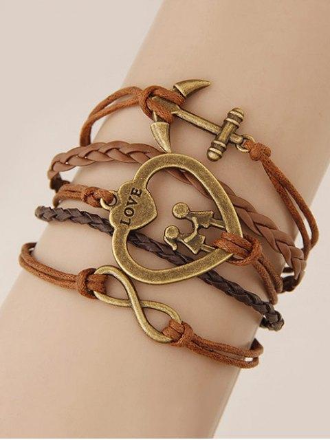 trendy Heart Infinity Anchor Braided Bracelet - BROWN  Mobile