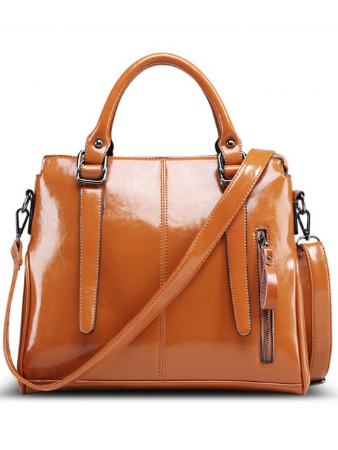 ladies Straps Solid Colour Tote Bag - BROWN  Mobile