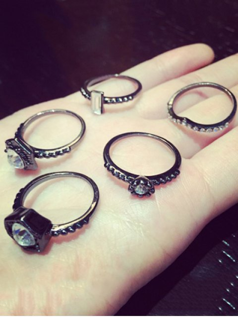 latest Punk Rhinestone Hexagon Ring Set - WHITE  Mobile