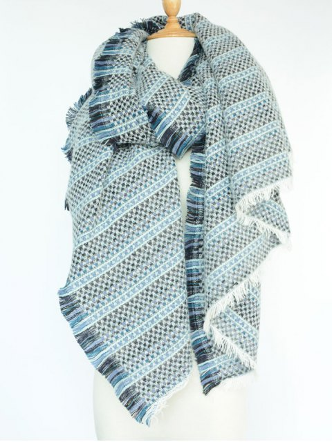 lady Plaid Stripe Fringed Pashmina - BLUE  Mobile