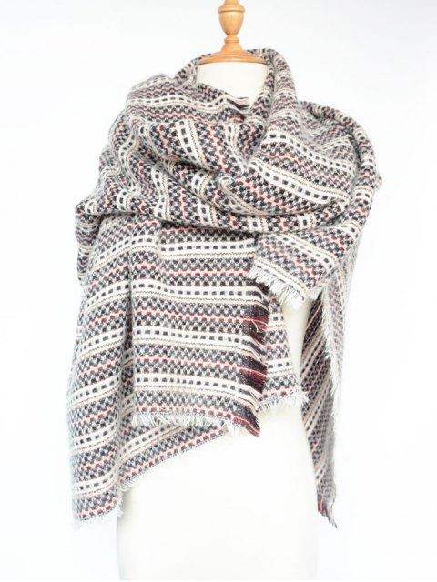 best Plaid Stripe Fringed Pashmina -   Mobile