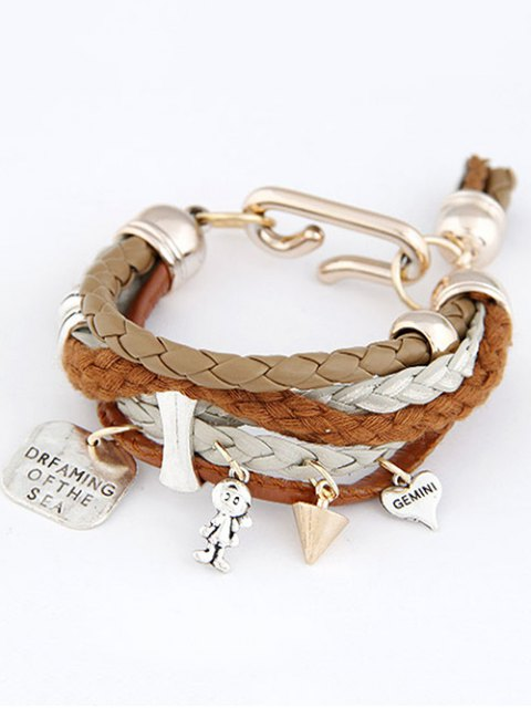 outfit Faux Leather Engraved Braided Bracelet - COFFEE  Mobile