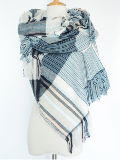 hot Stripe Fringed Pashmina -   Mobile
