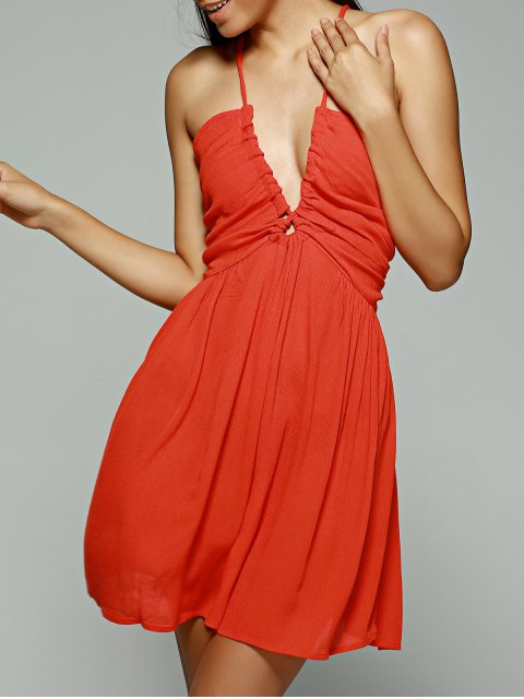 outfits Orange Red Plunging Neck Sleeveless Chiffon Dress - ORANGE RED XL Mobile