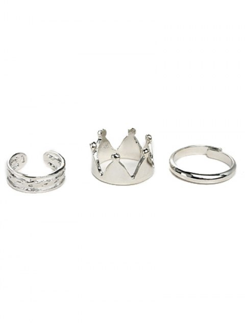chic Crown Ring Set - SILVER  Mobile