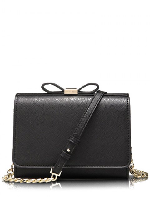 fancy Bowknot Solid Color Crossbody Bag - BLACK  Mobile