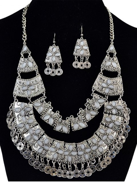sale Coin Fringe Statement Necklace and Earrings - SILVER  Mobile
